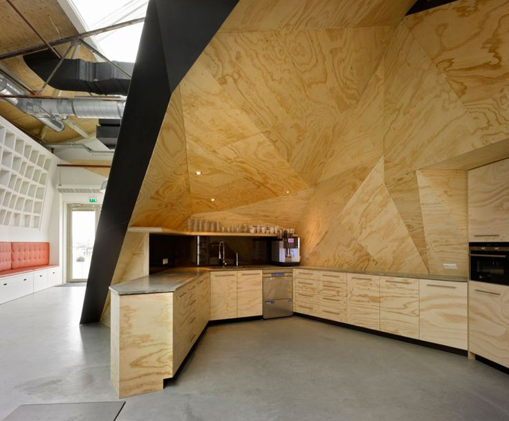 red bull office amsterdam netherlands sid lee architecture (8)  love the plywood-simple material made beautiful, faceted,