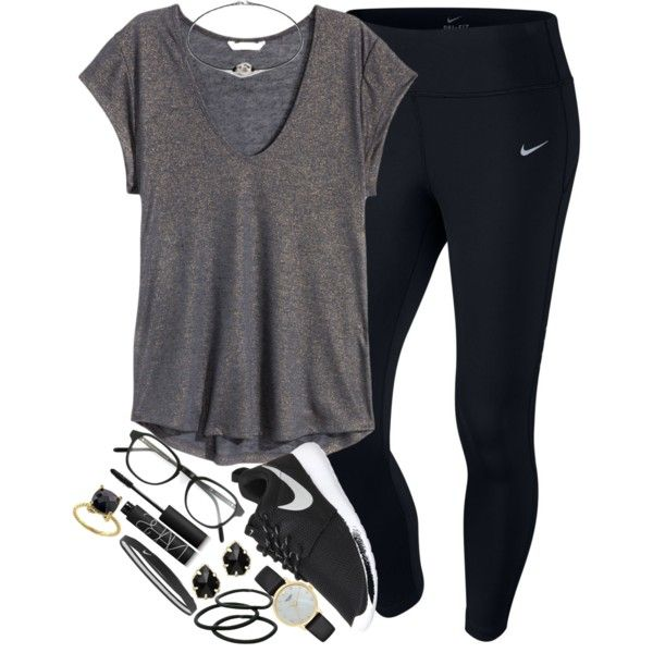 black⚫️⚫️ by elizabethannee on Polyvore featuring H&M, NIKE, Kate Spade, Kendra Scott, Effy Jewelry, RetroSuperFuture, Goody, NARS Cosmetics, women's clothing and women's fashion