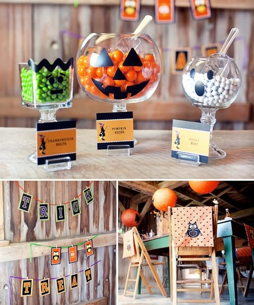 Halloween Party DIY candy jars. Clear glass bowl, vase, or jar on top of candlestick holder with green, orange and white candy for frankenstien, pumpkin, and ghost