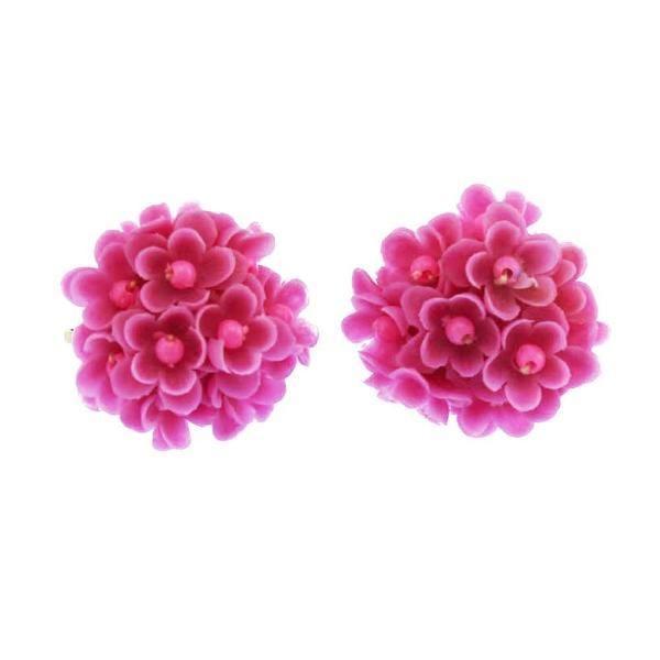 Pink Flower Cluster Earrings