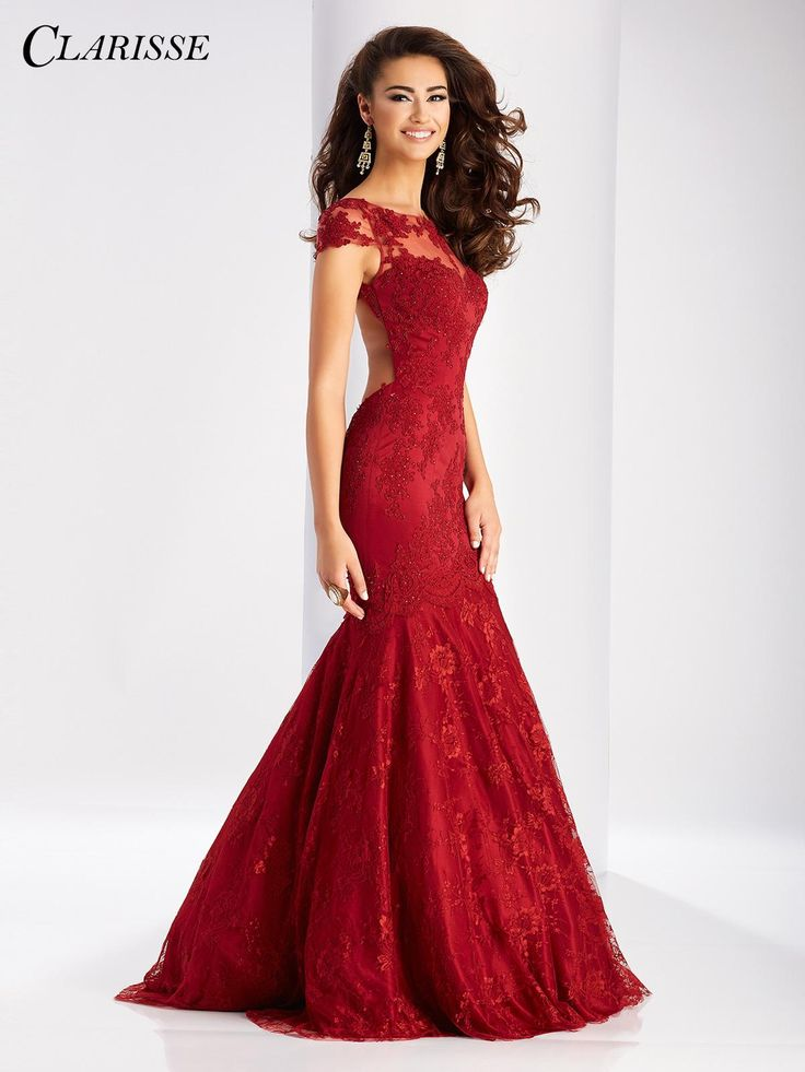 2017 Clarisse Lace Mermaid Prom Dress 3065. Feel like a princess in this lace mermaid dress with cap sleeves and open back. This dress won't be around for long so click our where to buy tab to find yours today! Click through for more info! COLOR: Ruby Red, Royal SIZE: 00-24