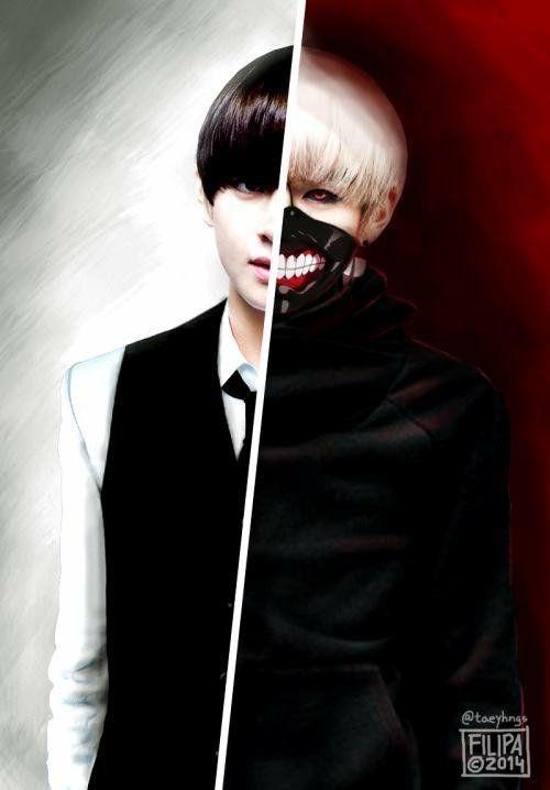 BTS V as Kaneki Ken - Tokyo Ghoul - phone wallpaper