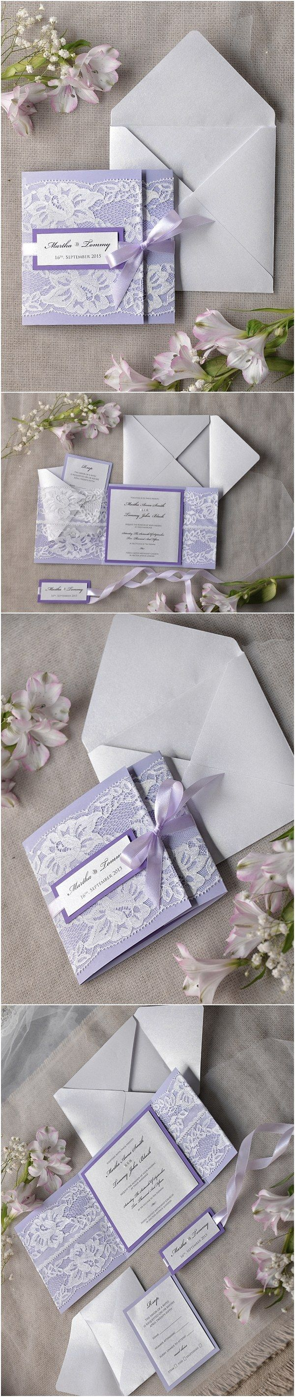 Vintage lavender lace wedding invitations #weddingideas #purpleideas