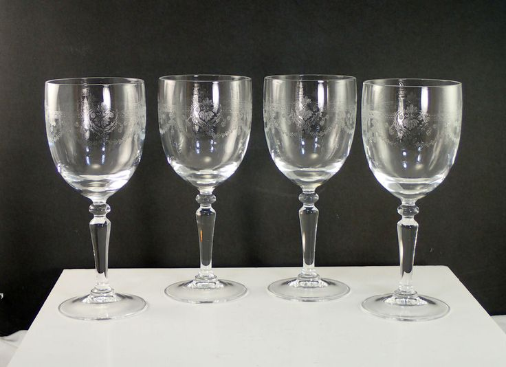 "Cristal D'Arques DAMPIERRE 7"" Etched Water Goblet Lot Of 4"