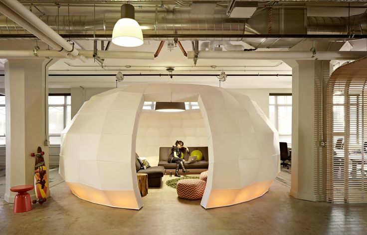 IN ORDER to accommodate many different people and businesses, startup incubator Runway needed an office space with flexible seating and plenty of collaborative areas. Their San Francisco office dedicates one third of their space to communal meeting areas, with a sculptural dome in the centre of the office providing the largest conference area.