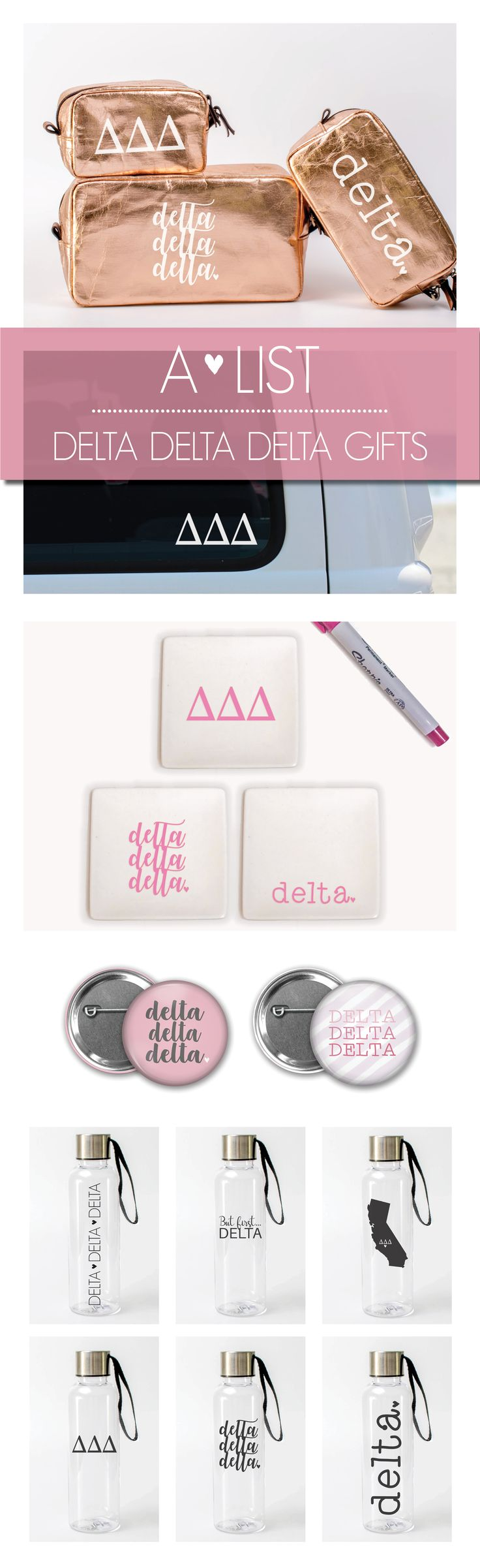Check out these super cute Delta Delta Delta Gifts - perfect for sorority bid day, big little reveal, initiation gifts, etc.