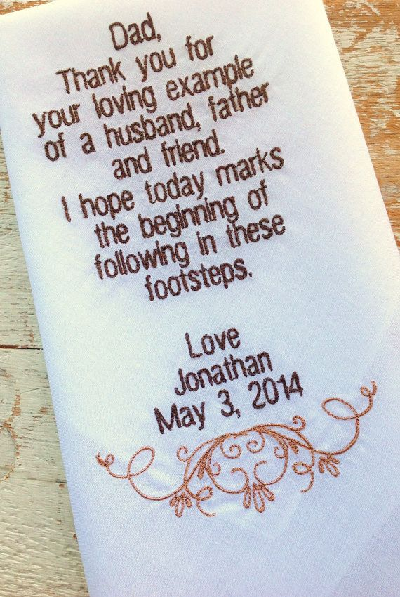 Embroidered Wedding Handkerchief Monogrammed Poem Dad From