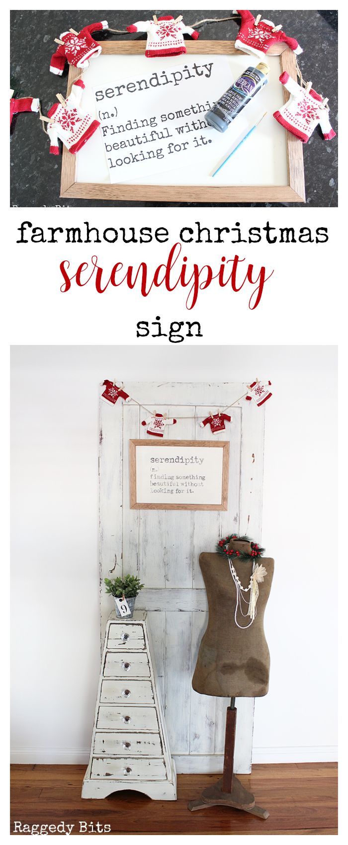 Inspired by the movie Serendipity, fun Farmhouse Christmas Serendipity Sign to make that can be enjoyed not just at Christmas but all year round   Full tutorial   www.raggedy-bits.com #moviechallange #2017ChristmasMovieChallenge #farmhouse #christmas #DIY #sign #farmhousesign