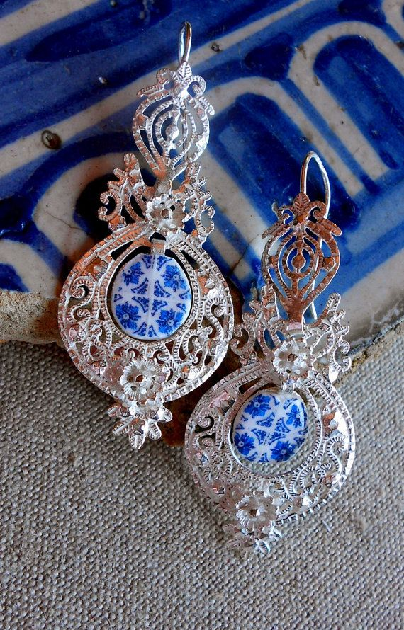 Portugal Sterling Silver Filigree Queen's Earrings by Atrio,