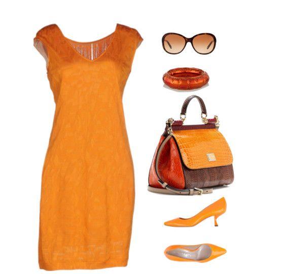 С чем носить оранжевое платье