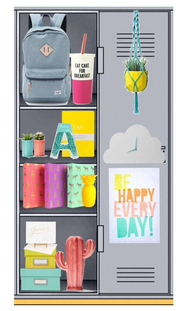 """cute locker"" by annieanne-tumblr13 ❤ liked on Polyvore featuring interior, interiors, interior design, hogar, home decor, interior decorating, Sugar Paper, Sunnylife, Herschel Supply Co. y Kate Spade"