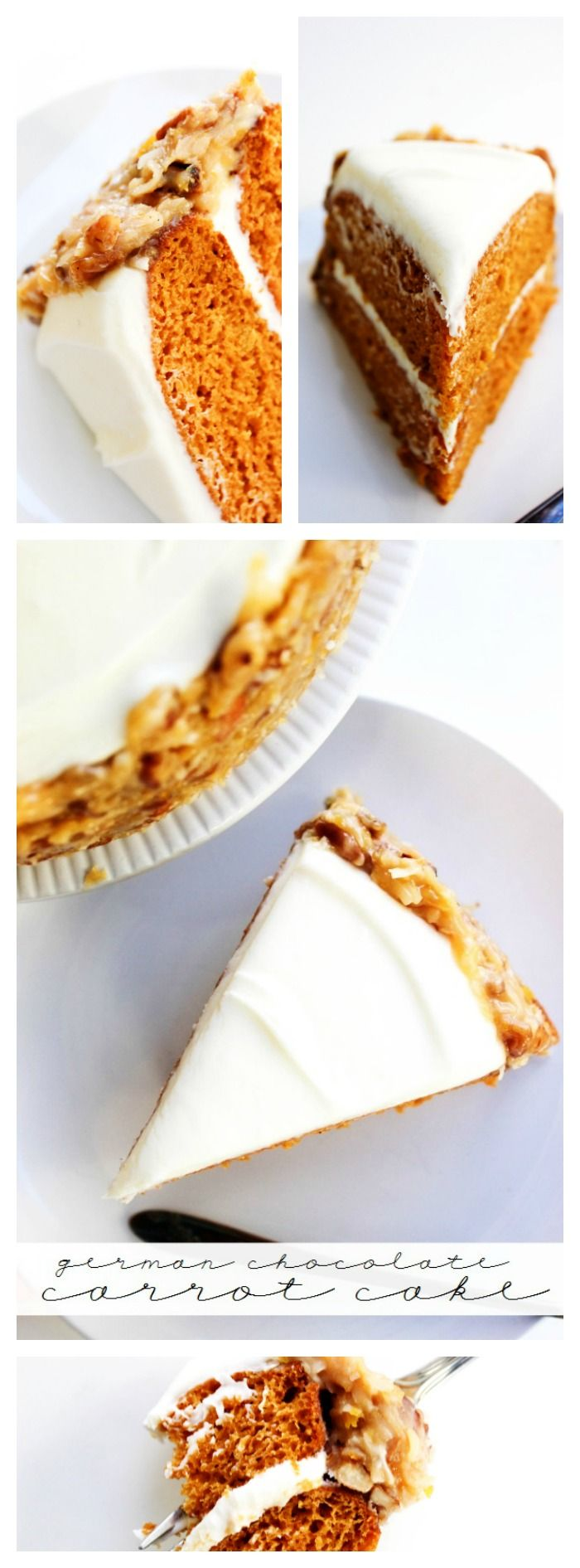 German Chocolate Carrot Cake - layers of cream cheese frosting & pumpkin cake with German Chocolate Cake frosting.