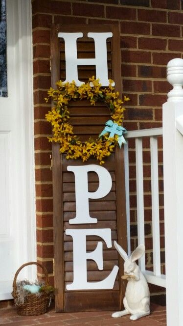 Easter sign HOPE, repurposed plantation shutter used as sign, letters and forsythia garland from craft store