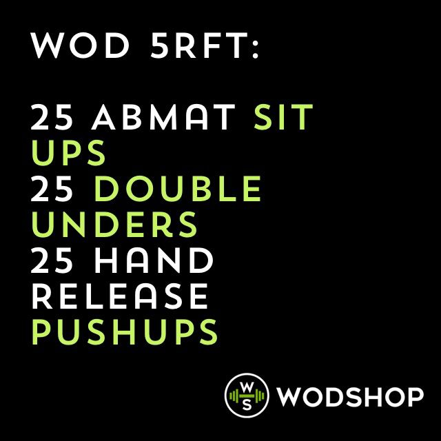 Sit ups, double unders, push ups