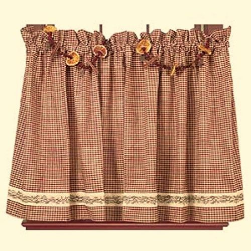 Primitive Country Farmhouse BERRY VINE Burgundy Check