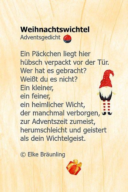Weihnachtswichtel Gedichte Zum Advent Adventsgedichte
