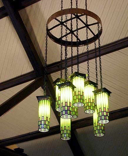 Handmade Arts and Crafts light fixtures at The Roycroft Inn - East Aurora, New York