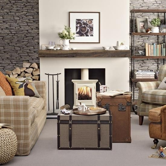 Create a cosy, relaxing living room with this twist on classic English country style. Introduce country-style textures such as wool and leather to industrial influences — try an exposed brick-effect wallpaper and factory-style shelviing.