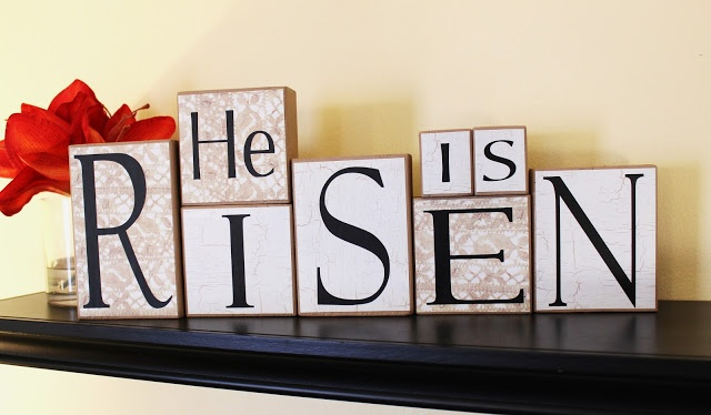 Easter blocks; He is Risen. (I would use prettier, more colorful paper!)