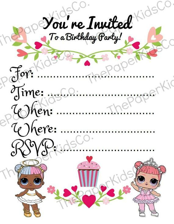 L O L Surprise Dolls - Blank Invitation Card - Digital Download