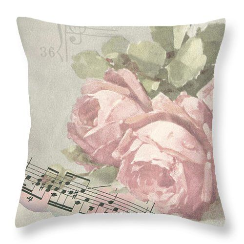 Best Wishes Card Throw Pillow featuring the digital art Best Wishes Vintage Roses Card by Sandra Foster