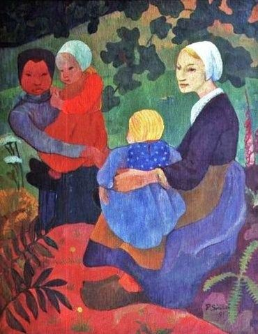 The Young Mothers - Paul Serusier.  Seated in a fabric landscape...