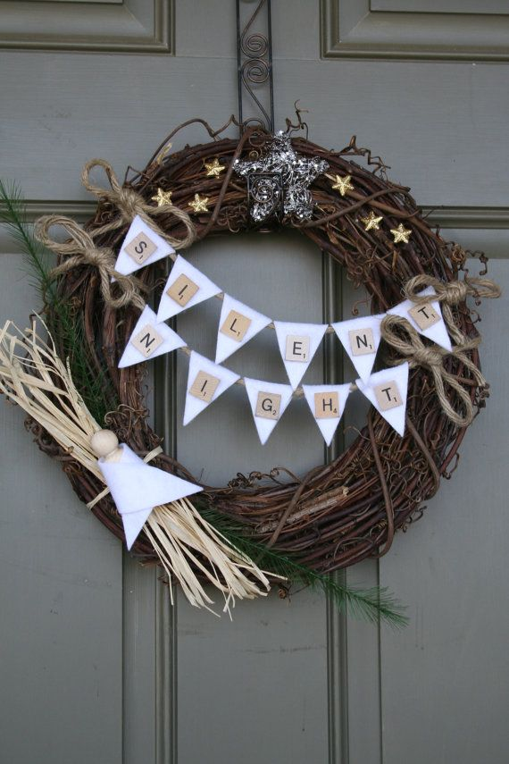 Christmas Vine Wreath/Scrabble by LizzyDesigns on Etsy, $35.00 silent night nativity