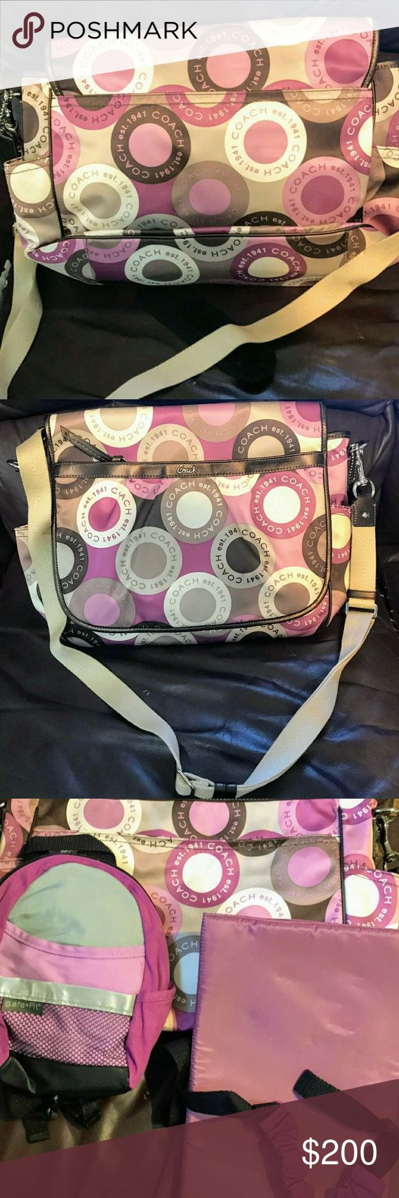Coach Diaper Bag, Brand New Authentic Coach Brand New diaper bag for baby girl Never used! Still has tag (unattached) Includes changing pad and another small bag Punks, purples, tabs & browns Coach Accessories Bags