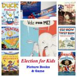 Books and a game to teach kids about Presidential election (including the mudslinging politics!).