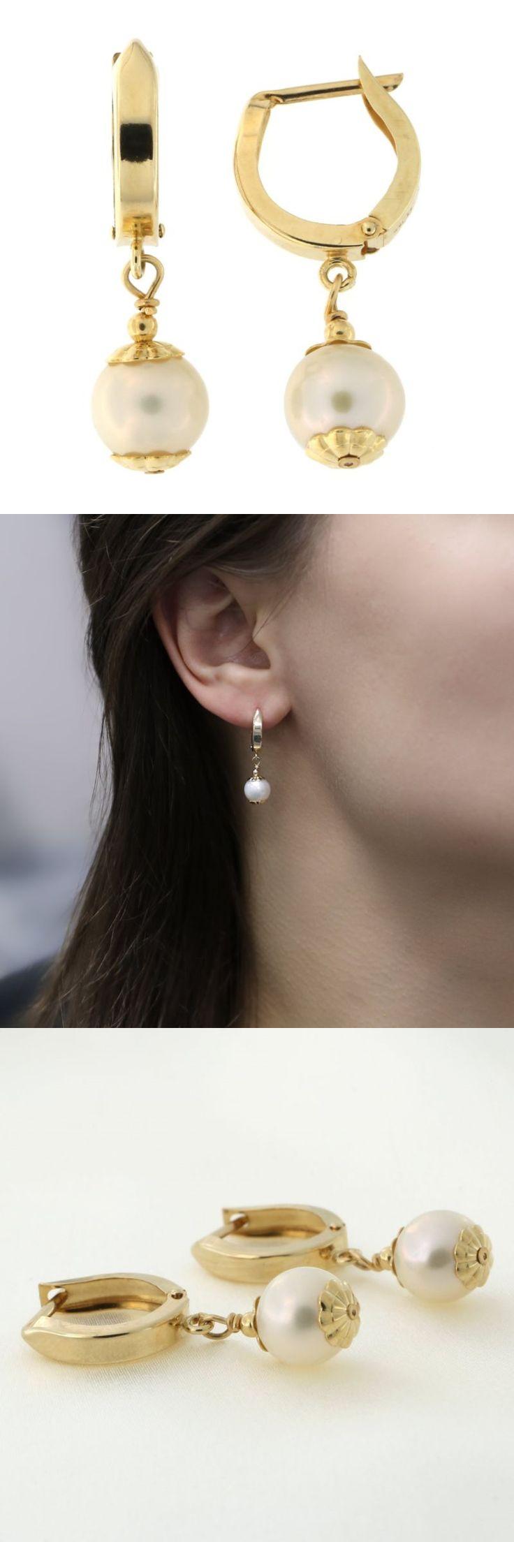 Pearl 10990: 14K Yellow Gold 7Mm Freshwater Cultured Pearl Huggie Dangle Earrings -> BUY IT NOW ONLY: $108 on eBay!