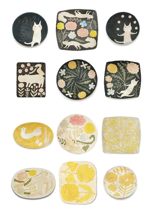 makoto kagoshima ++ via happy interior blog: Interiors Blog, Ideas, Ceramics Cat, Kagoshima Plates, Menu, Happy Interiors, Pottery, Kagoshima Ceramics, Makoto Kagoshima