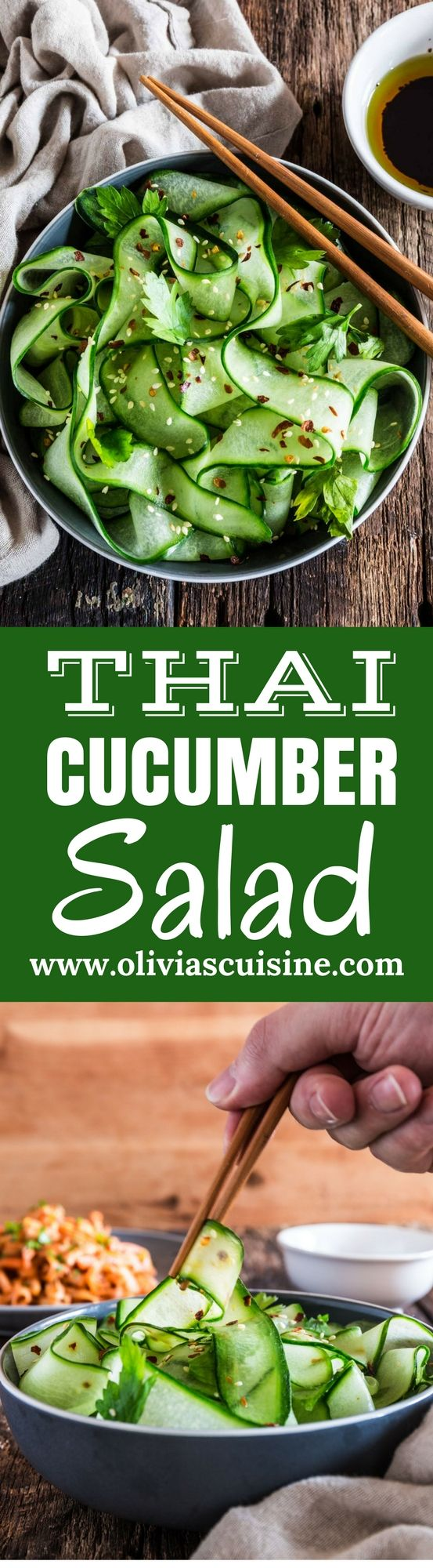 Thai Cucumber Salad with Sesame Ginger Dressing | www.oliviascuisine.com | Some of the best pleasures in life are the simple ones, like this refreshing and light Thai Cucumber Salad. It comes together in less than 5 minutes, so you won't have to miss any second of that sacred summer sunshine! (Recipe by @oliviascuisine.)