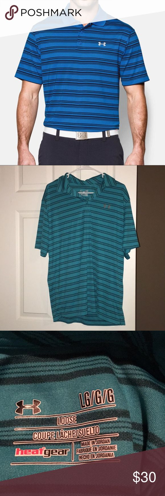Teal stripped under Armour men's polo First picture for example of the shirt on. Same fitting shirt, just slightly different color. The shirt for sale is a teal color with dark blue stripes. Never been worn Under Armour Shirts Polos