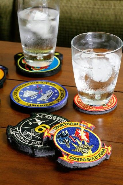 Old patches as coasters... awesome... we have around a million of these!Great idea!!!