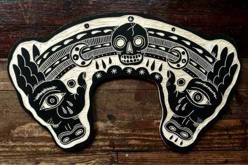 Higgs hands with added magic, Tattoo Wood Carvings by Bryn Perrott