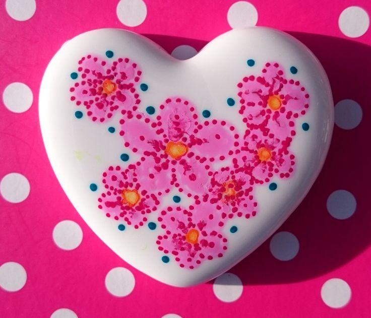 Little Hearts #18: handpainted art on a little white heart by TheBigLittleArtShop on Etsy