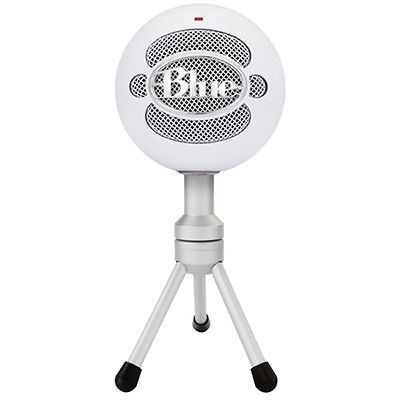 ﹩53.00. BLUE MICROPHONES Snowball iCE Versatile USB Microphone - White   Connectivity - Wired, Connector(s) - USB, Features - Adjustable Stand/Mount, Microphone Form Factor - Handheld/Stand-Held, Pickup Pattern - Cardioid, Mount Type - None, To Fit - Camera, Design - Freestanding, Type - Condenser Microphone, Description - It's never been easier to get high quality audio with your computer. Home, office, anywhere - the Snowball iCE USB microphone delivers HD-quali