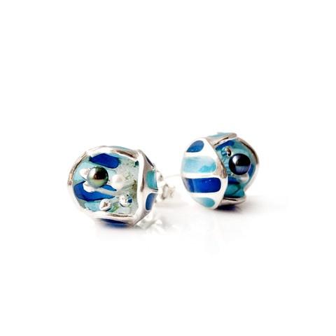 """""""Ocean Blue enamel Blossom"""" stud earrings. Sterling silver. plique a jour enamelling. fresh water pearls."""