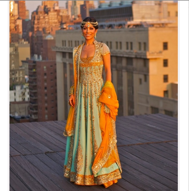 Turquoise-orange via Shaadi Bazaar