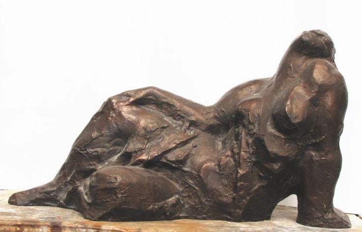 Lying, bronze sculpture by Jaroslav Jurčák | Czech contemporary artist.