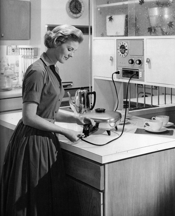 The 1950s housewife, highly conservative time. Women expected to be perfect wives and mothers. Almost always pictured doing chores or cooking.