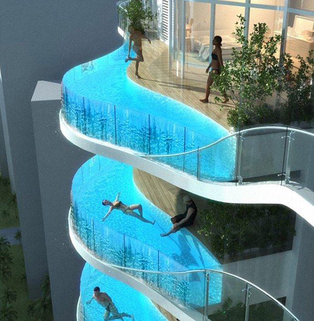 in Mumbai they are building an apartment block with swimming pools instead of balconies ! :O
