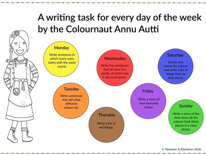 Free and printable, fun and simple writing tasks in the worksheets from the Colournauts