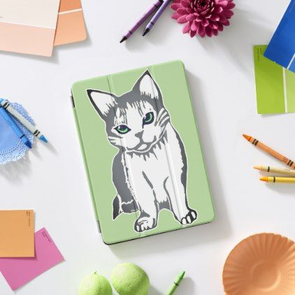 Grey and White Cat Light Green iPad Cover - cat cats kitten kitty pet love pussy