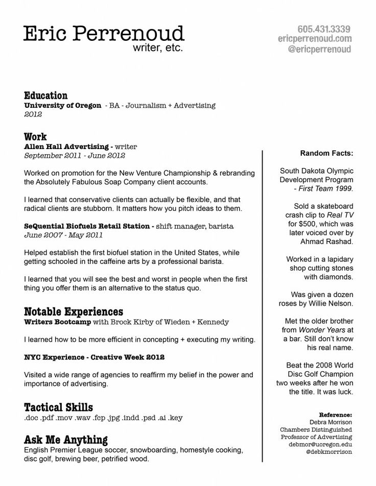 168 best Creative CV Inspiration images on Pinterest Resume - bar back resume