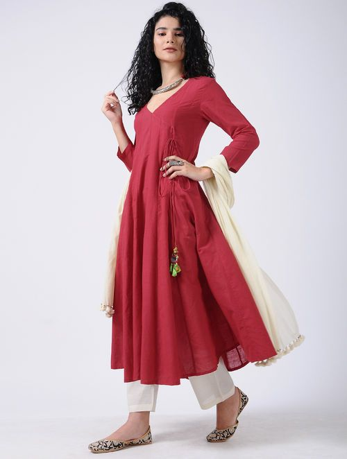 58b34bda90 Red Cotton Kurta with Tassel detail   For the Almirah   Pinterest    Tassels, Cotton and Red