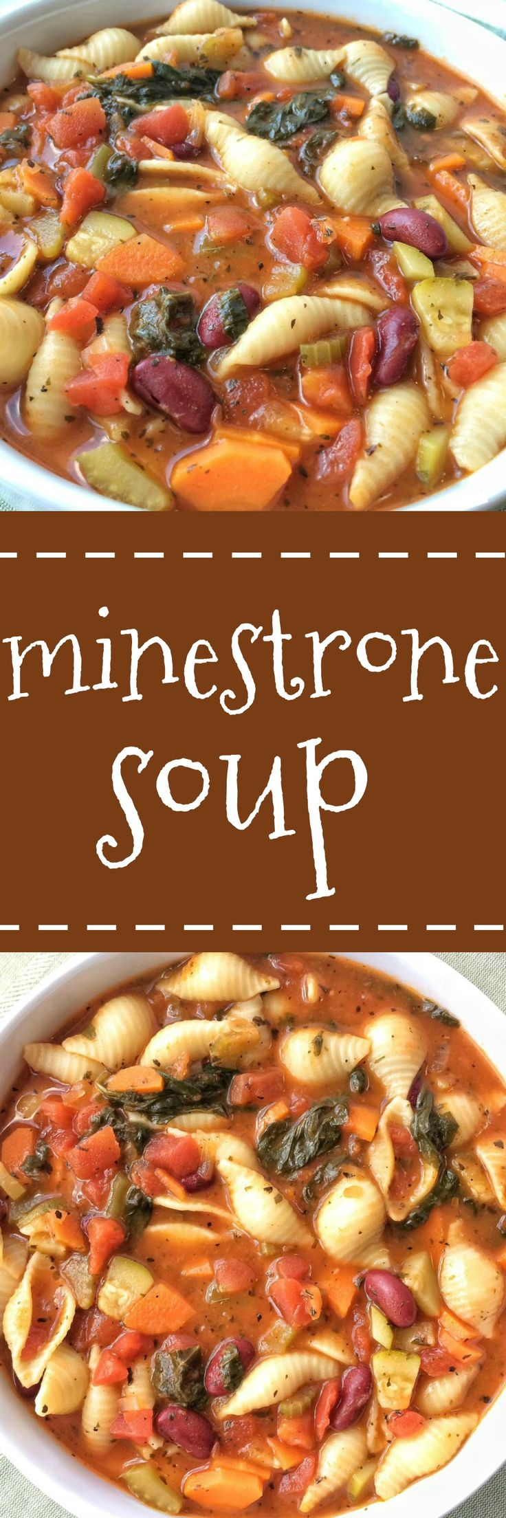 Classic Minestrone soup with a tomato vegetable broth base and loaded to the max with fresh veggies, beans, and tender pasta. Simmer with some spices and you have a delicious & healthy bowl of soup for dinner.