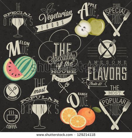 Retro vintage style restaurant menu designs. Set of Calligraphic titles and symbols for restaurant. Hand lettering restaurant menu design. Orange, melon and apple illustrations.  Fast Food. Vector
