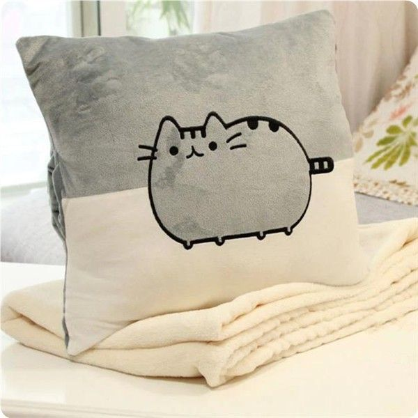 Pusheen cat cushion blanket 3 in 1 sofa plush pillow blanket throw pillow hand warmer car back cushion birthday gift(China (Mainland))