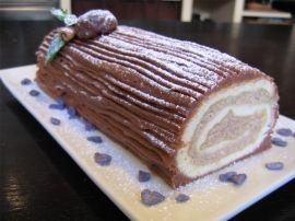 """Bûche de Noël chocolat et crème aux marrons (""""Baumstamm"""" mit marronicreme , auch für herbst Dessert zb. für gäste, besuch..)"""